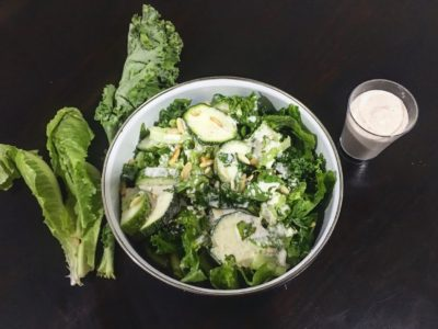 Green leafy Salad with Tahini cheese sauce